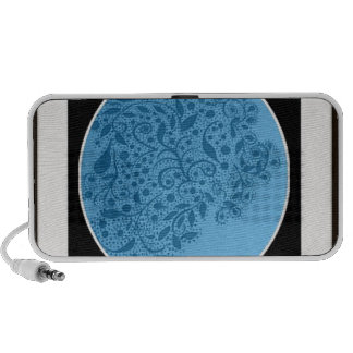 Hand painted Abstract Art Blk., wht and turq Laptop Speaker