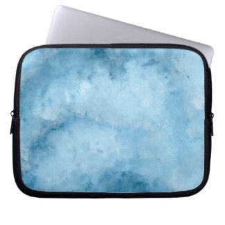 Hand Painted Abstract Blue And White Cloud Effect Laptop Sleeve