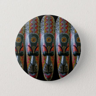 Hand Painted African Tribal Mask Button