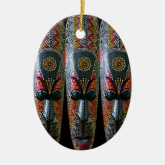 Hand Painted African Tribal Mask Ceramic Ornament