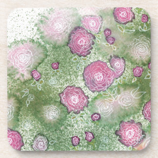 Hand-painted antique-rose hedge coaster