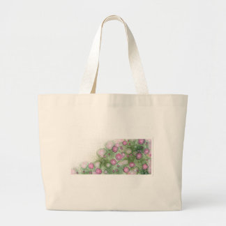 Hand-painted antique-rose hedge large tote bag