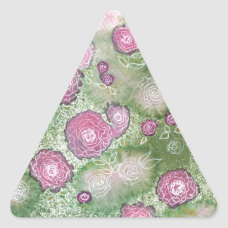 Hand-painted antique-rose hedge triangle sticker