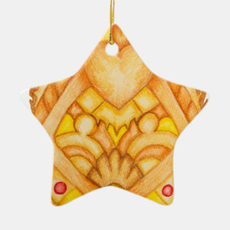 Hand painted art totem Double-Sided star ceramic christmas ornament