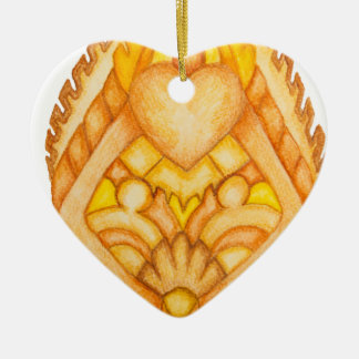 Hand painted art totem Double-Sided heart ceramic christmas ornament
