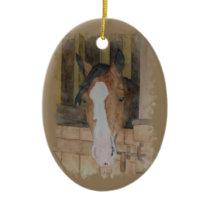 Hand Painted Bay Quarter Horse Mare Barn Scene Ceramic Ornament