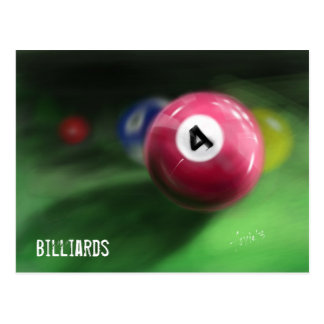 Hand painted billiard balls postcard