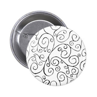 Hand-Painted Black Curvy Pattern on White 2 Inch Round Button