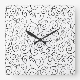 Hand-Painted Black Curvy Pattern on White Square Wallclocks