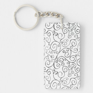 Hand-Painted Black Curvy Pattern on White Double-Sided Rectangular Acrylic Keychain