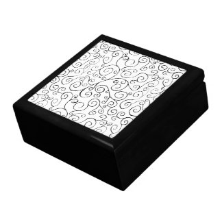 Hand-Painted Black Curvy Pattern on White Gift Box