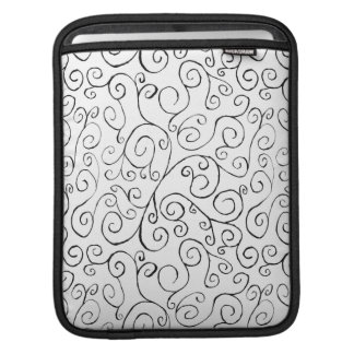 Hand-Painted Black Curvy Pattern on White iPad Sleeves