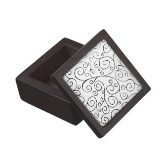 Hand-Painted Black Curvy Pattern on White Jewelry Box