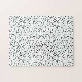 Hand-Painted Black Curvy Pattern on White Jigsaw Puzzle