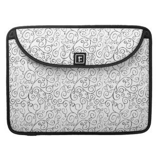 Hand-Painted Black Curvy Pattern on White MacBook Pro Sleeve