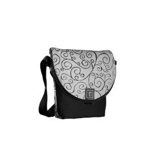 Hand-Painted Black Curvy Pattern on White Messenger Bag