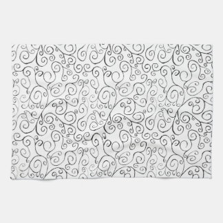 Hand-Painted Black Curvy Pattern on White Towel