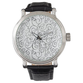 Hand-Painted Black Curvy Pattern on White Watch