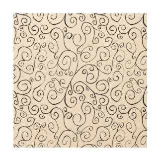 Hand-Painted Black Curvy Pattern on White Wood Print