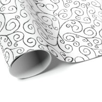 Hand Painted Black Curvy Pattern on White Wrapping Paper