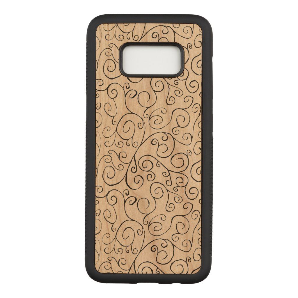 Hand-Painted Black Curvy Pattern on Wood Carved Samsung Galaxy S8 Case