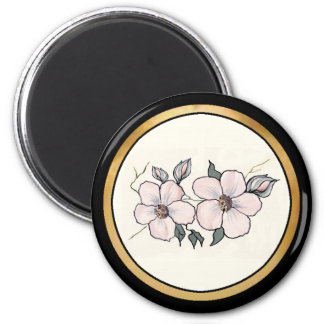 Hand Painted Blossoms 2 Inch Round Magnet