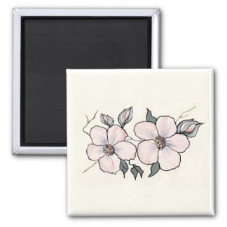 Hand Painted Blossoms 2 Inch Square Magnet