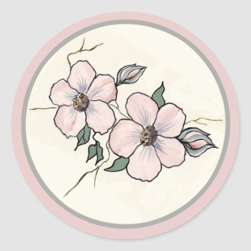 Hand Painted Blossoms Classic Round Sticker