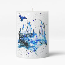 Hand Painted Blue Medieval Castle Pillar Candle
