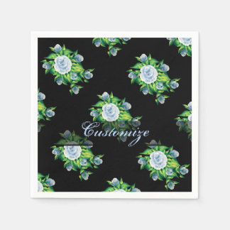 Hand Painted Blue Roses Pattern Napkins
