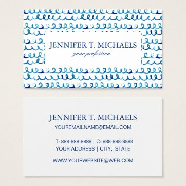 Beach Themed Hand Painted Blue Watercolor Wavy Pattern Business Card