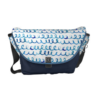 Hand Painted Blue Watercolor Wavy Pattern Courier Bag
