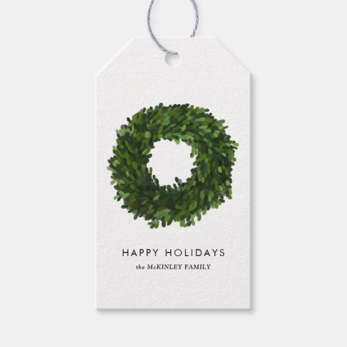 Hand Painted Boxwood Wreath Holiday Personalized Gift Tags