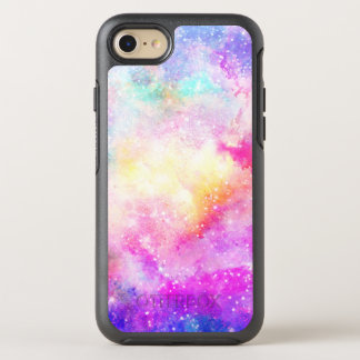 Hand painted bright pastel nebula watercolor OtterBox symmetry iPhone 7 case