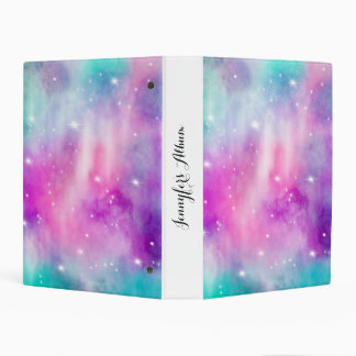 Hand painted bright watercolor pastel nebula space mini binder