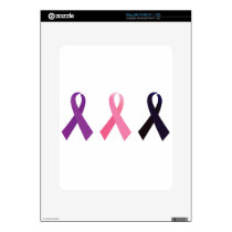 Hand painted cancer ribbons decals for the iPad