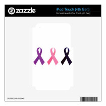 Hand painted cancer ribbons iPod touch 4G decal