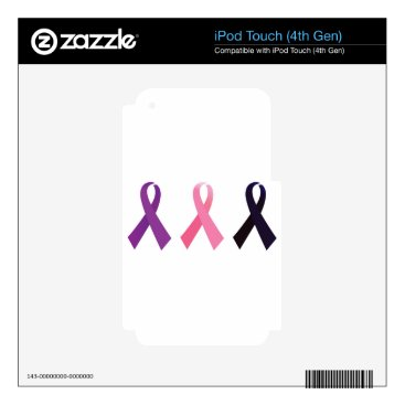 Professional Business Hand painted cancer ribbons iPod touch 4G decal