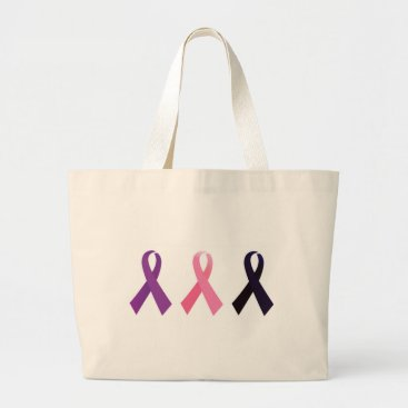 Professional Business Hand painted cancer ribbons large tote bag