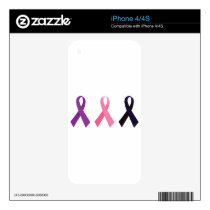 Hand painted cancer ribbons skins for iPhone 4