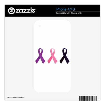 Professional Business Hand painted cancer ribbons skins for iPhone 4
