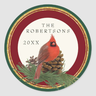 Hand Painted Cardinal Pine Cone Personalized Names Classic Round Sticker