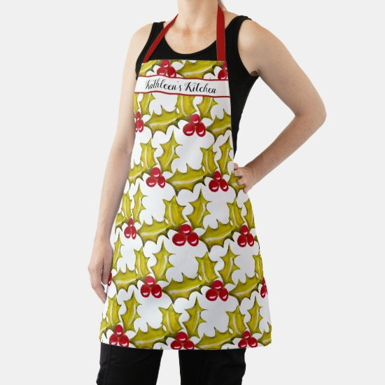 Hand Painted Christmas Holly Red Berries Add Name Apron