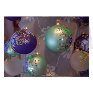 Hand painted Christmas tree ornaments Card