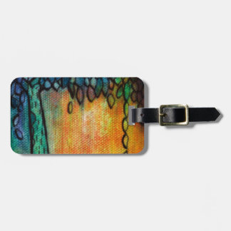 Hand Painted Colorful Tree of Life Bag Tag