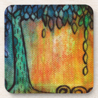 Hand Painted Colorful Tree of Life Beverage Coaster
