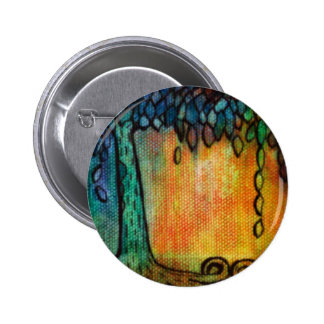 Hand Painted Colorful Tree of Life Pinback Button