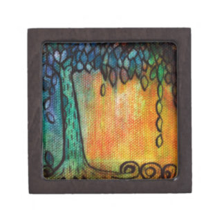 Hand Painted Colorful Tree of Life Premium Keepsake Boxes