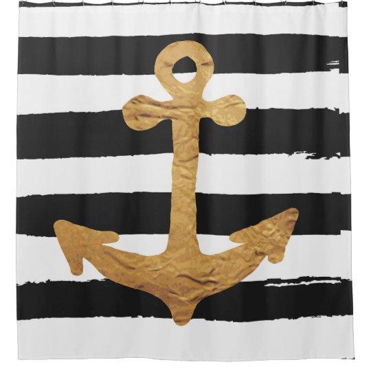 Hand Painteddigitalblack White Stripesgold Shower Curtain