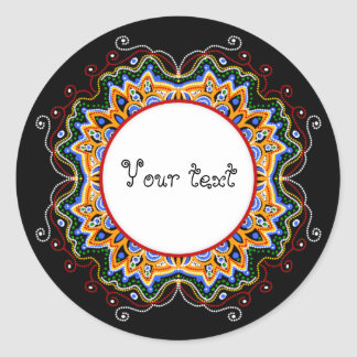 hand painted doodle ornament frame classic round sticker